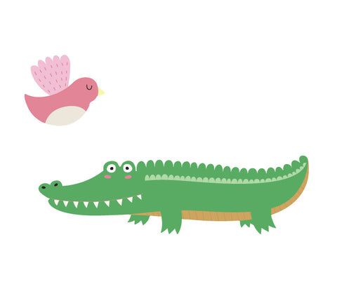 Alligator and Bird Wall Decal