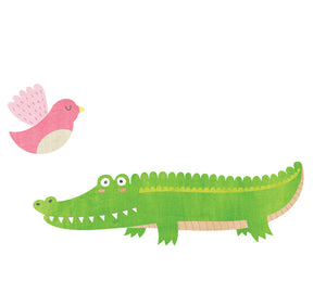 Alligator and Bird Wall Decal Watercolor
