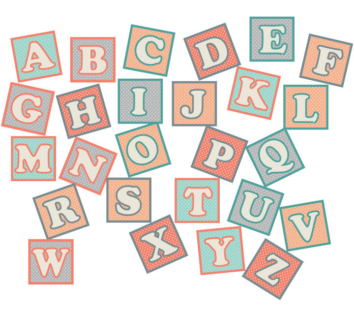Alphabet Blocks in Vintage Design