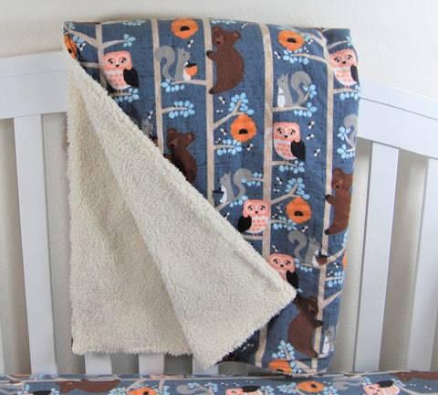 Bear Crib Blanket - Sherpa and Flannel Blanket