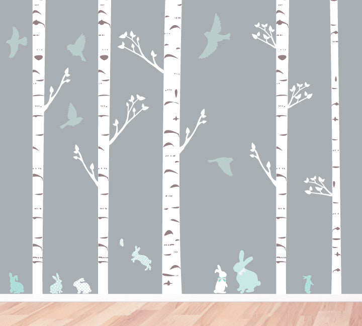 BirchTree Fabric Wall Decals - Trees, Bunnies & Birds Wall Decals