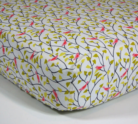 Bird Crib Sheet - Organic Cotton Designer Crib Sheet