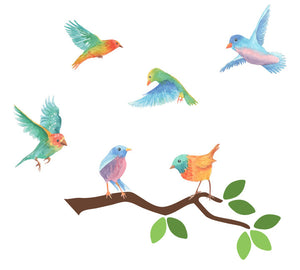 Branch and Bird Fabric Wall Decals