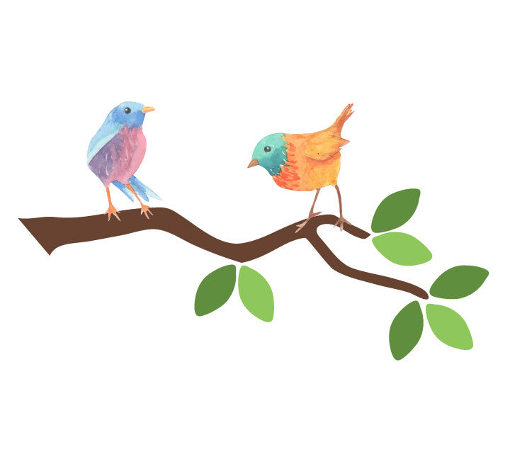 Branch and  Two Bird Fabric Wall Decals