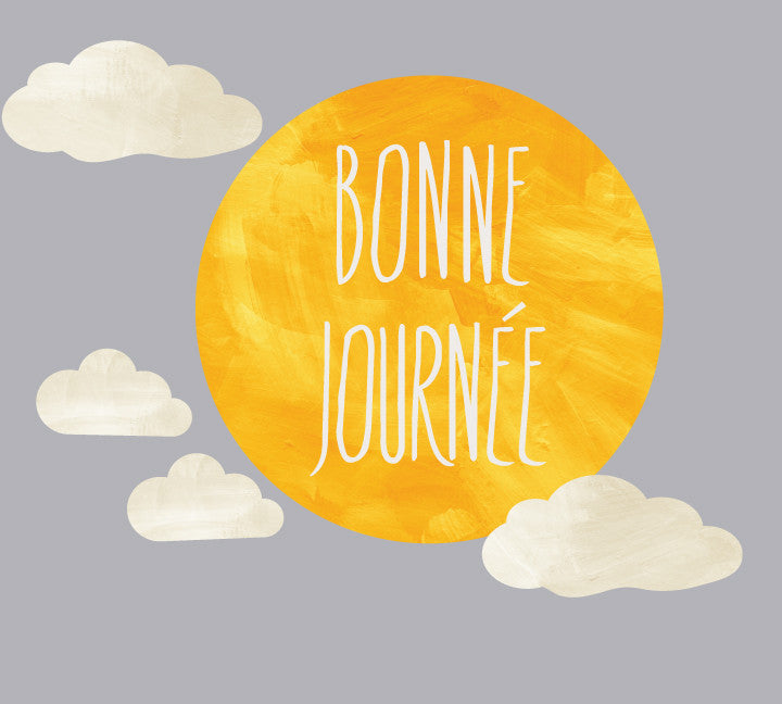 Bonne Journee Wall Decal - Bonne Journee Watercolor Sun