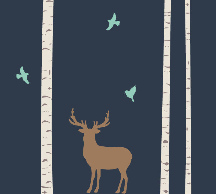 Trees Buck and Birds Wall Decals - Woodland Fabric Wall Decals
