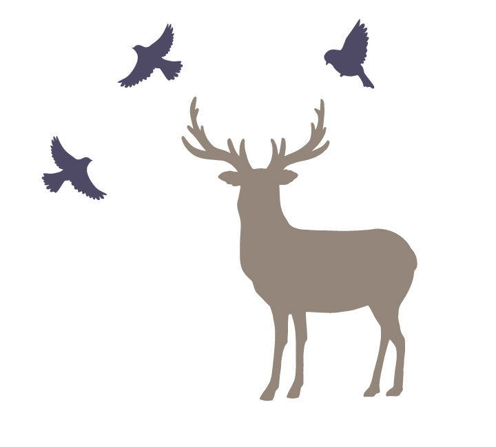 Buck and Birds Wall Decals - Deer and Bird Fabric Wall Decals