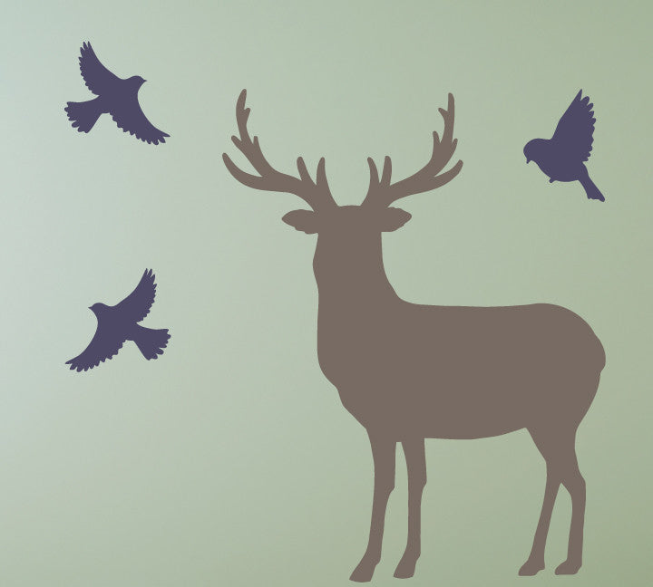 Buck And Birds Wall Decals   Deer And Bird Fabric Wall Decals