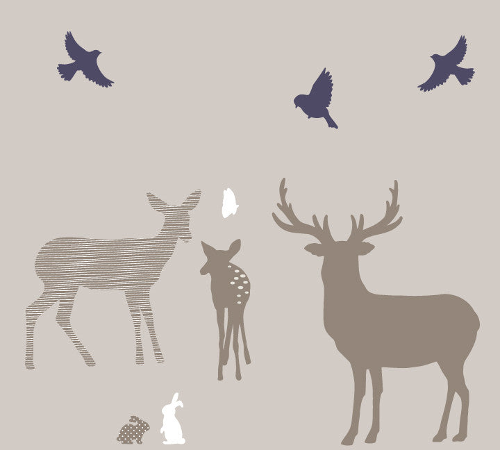 Trees, Deer and Buck Family Wall Decals - Woodland Family Fabric Wall Decals