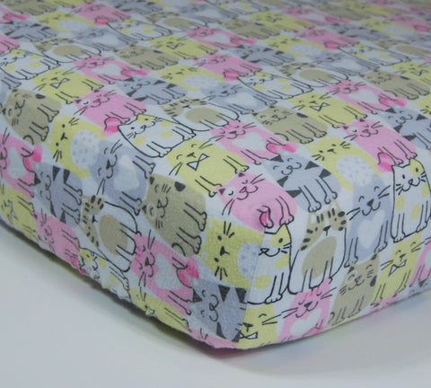 Cat Crib Sheet - Cotton Flannel Crib Sheet Kittens