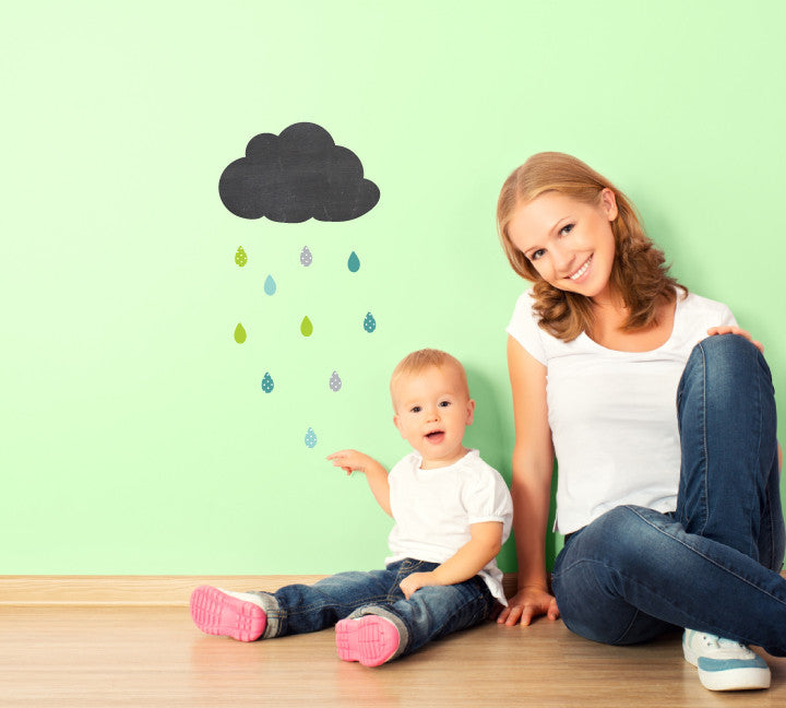 Chalkboard Rainy Day Wall Decal - Cloud and Rain Chalkboard Decal