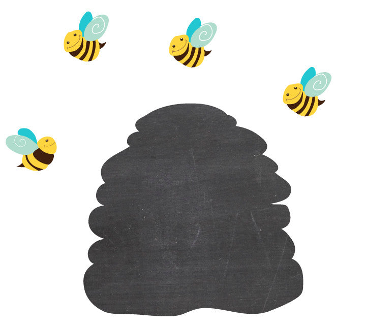 Chalkboard Beehive and Bee WallDecal - Eco Friendly Chalkboard Wall Decal