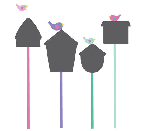 Chalkboard Birdhouse and Birds Wall Decal - Birdhouse Chalkboard Decal