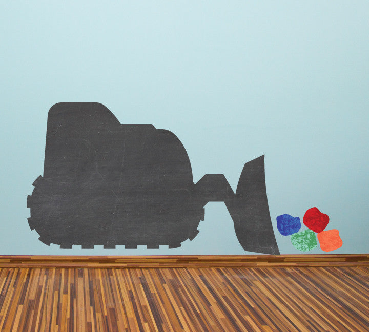 Chalkboard Bulldozer WallDecal - Eco Friendly Chalkboard Wall Decal