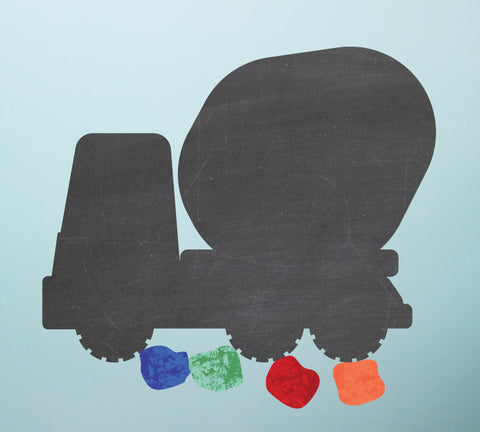 Chalkboard Cement Mixer Wall Decal - Eco Friendly Chalkboard Wall Decal