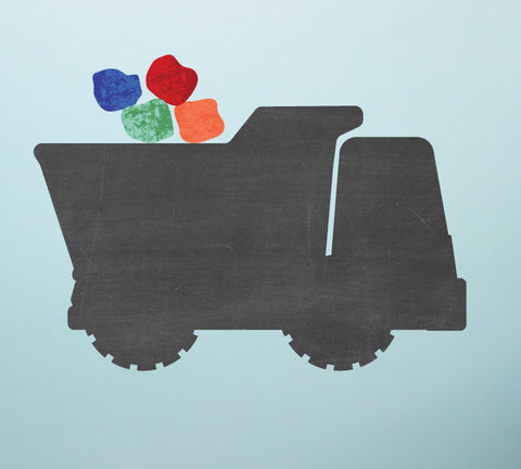 Chalkboard Dump Truck Wall Decal - Eco Friendly Chalkboard Wall Decal
