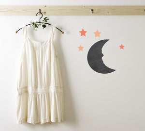 Chalkboard Moon and Stars Wall Decal - Moon Chalkboard Decal