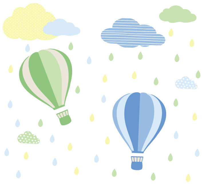 Hot Air Balloons, Clouds and Rain Wall Decals