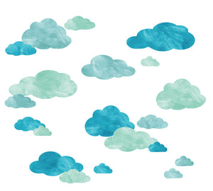 Cloud Watercolor Fabric Wall Decals