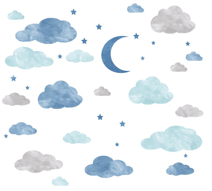 Cloud Moon And Stars Watercolor Fabric Wall Decals Eco