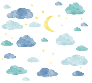 Cloud, Moon and Stars Watercolor Fabric Wall Decals
