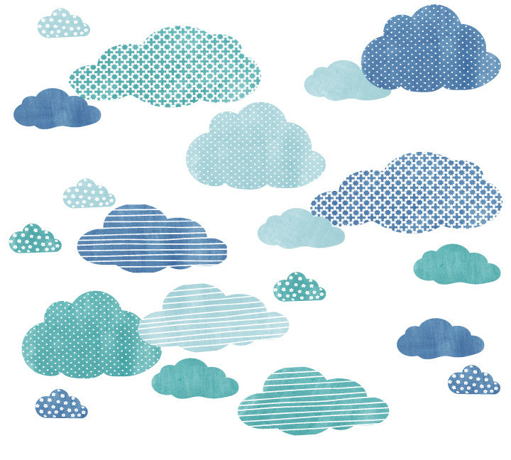 Cloud Watercolor Patterned Fabric Wall Decals