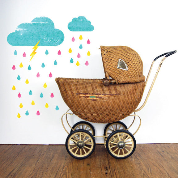 Rain Fabric Wall Decals