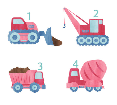 Construction Vehicle Wall Decals - Girls Construction Fabric Wall Decals