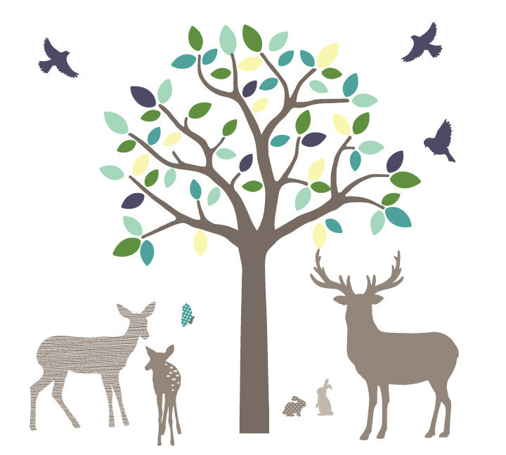 Tree, Deer and Buck Family Wall Decals - Woodland Family Fabric Wall Decals