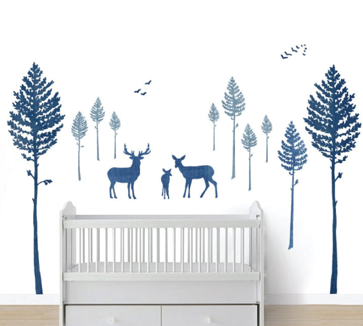 Deer and Pine Tree Wall Decals