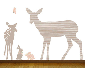 Deer and Bunny Fabric Wall Decals - Forest Family Wall Decals