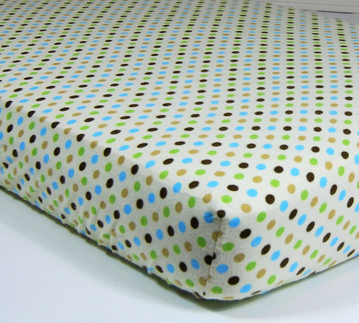 Dotted Crib Sheet - Cotton Flannel Crib/Toddler Sheet