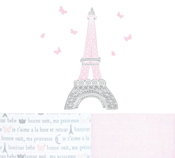 Paris Crib Sheet - Eiffel Tower Flannel Crib Sheet