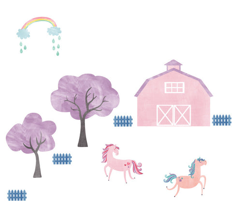 Farm Watercolor Wall Decals - Horse Farm Decals