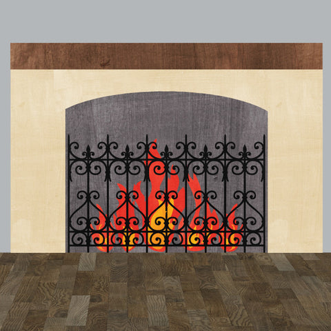 Fireplace Wall Decal in Watercolor, Large - Eco Fabric Wall Decal