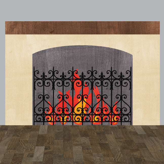 Fireplace Wall Decal in Watercolor - Eco Fabric Wall Decal