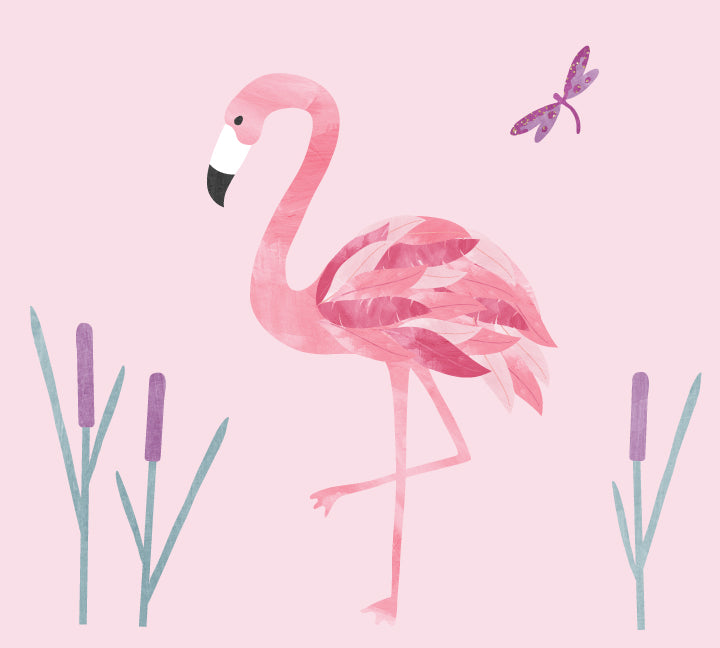Flamingo Wall Decal - Watercolor Fabric Wall Decal