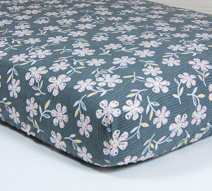 Flower Crib Sheet - Designer Cotton Crib/Toddler Sheet
