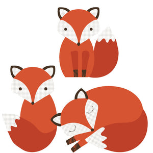 Fox and Hedgehog Family Fabric Wall Decal