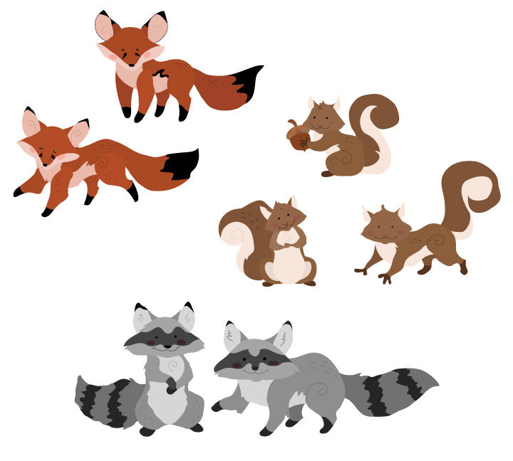 Forest Friends Wall Decals - Fox Raccoon & Squirrel Fabric Wall Decals