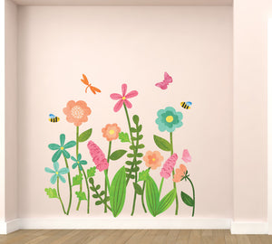 Garden Flowers Watercolor Wall Decals