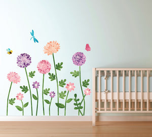 Garden Flowers Fabric Wall Decal