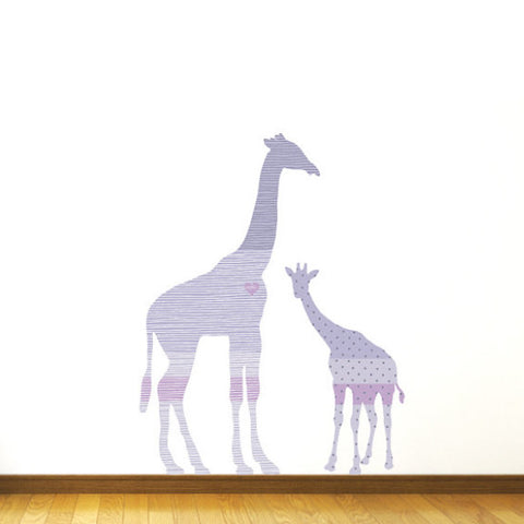 Purple Giraffe Fabric Wall Decal