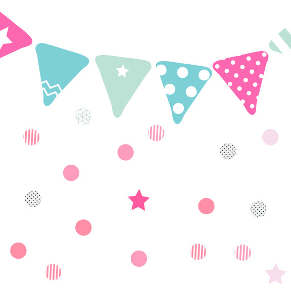 Pink & Blue Bunting Fabric Wall Decal
