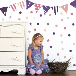 Purple Bunting Fabric Wall Decal