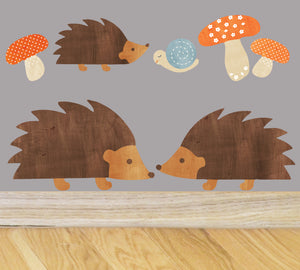 Hedgehog Family Wall Decal Set - Forest Fabric Wall Decals