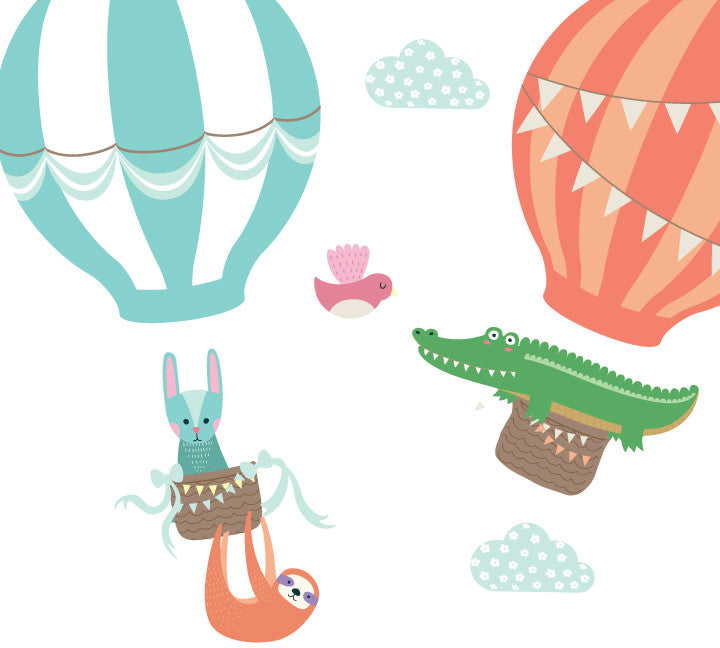 Hot Air Balloons and Animal Wall Decals - Vintage Balloon and Animal Fabric Wall Decals