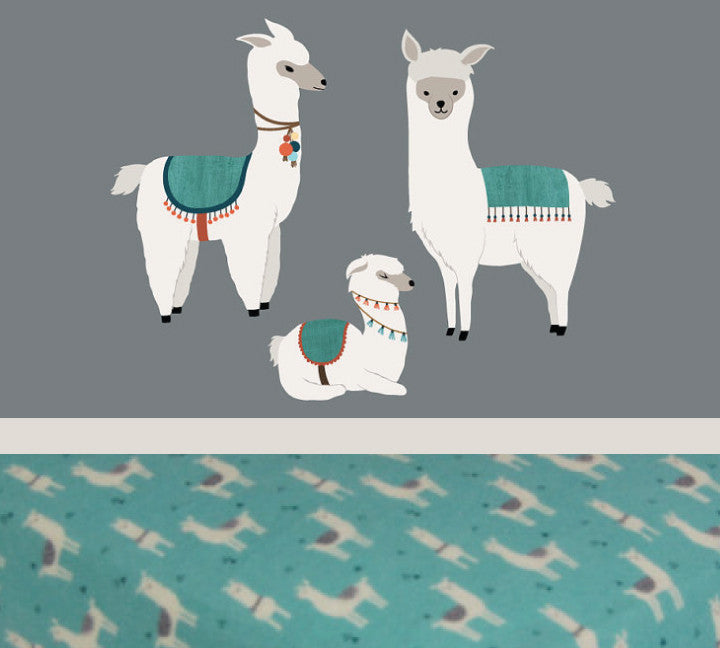 Llama Sheet - Cotton Flannel Crib Sheet