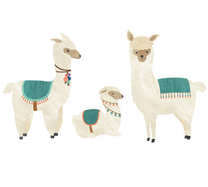Llama Wall Decals - Watercolor Fabric Wall Decals