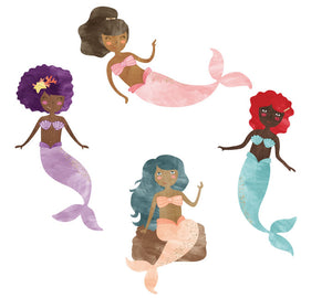 Mermaid Wall Decals - Watercolor Glitter Ethnic Mermaids